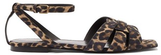 Saint Laurent Tribute Leopard-print Suede Sandals - Leopard