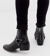 Asos Design DESIGN Wide Fit cuban heel western chelsea boots in black leather with buckle detail