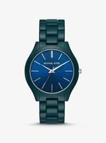 Michael Kors Slim Runway Teal Coated Watch