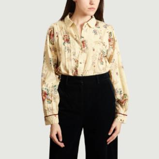 Leon & Harper - Ecru Cotton Cyrus Floral Pleated Shirt - cotton | ecru | small - Ecru
