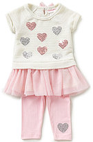 Flapdoodles Little Girls 2T-6X Heart-Sequin Ruffle Dress and Solid Leggings Set