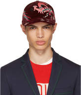 Gucci Burgundy Velvet Dragon Baseball Cap