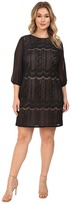 Adrianna Papell Plus Size Striped Lace Shift Dress w/ Sleeve