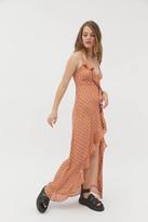 Dress Forum Polka Dot Ruffle Maxi Dress