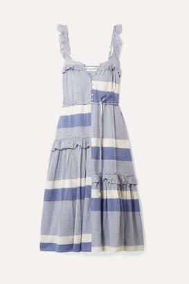 Apiece Apart Lypie Ruffle-trimmed Striped Cotton-gauze Maxi Dress - Blue