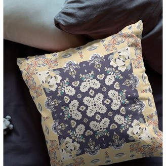"""World Menagerie Emmanuella Indoor / Outdoor Floral Pillow Size: 20"""" x 20"""", Color: Off-White/Blue"""