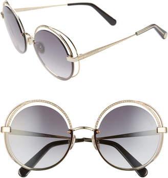 Roberto Cavalli 60mm Crystal Detail Round Sunglasses