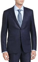 Canali Birdseye Windowpane Super 130s Wool Two-Piece Suit, Navy