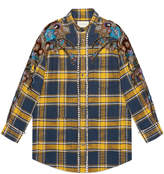 Gucci Embroidered plaid oversize shirt