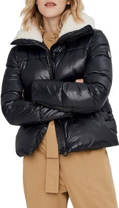 Noize Felicia Fleece Trim Crop Puffer Coat