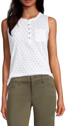 Liz Claiborne Womens Crew Neck Sleeveless Henley Shirt