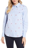 Draper James Women's Embroidered Bow Button Down Shirt
