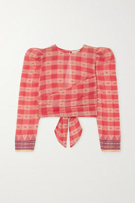 Ulla Johnson Eden Jacquard-trimmed Checked Fil Coupe Cotton-voile Top - Red
