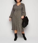 New Look Curves Spot Frill Trim Midi Dress