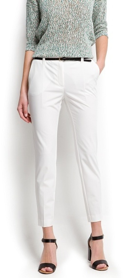 MANGO Cropped high waist trousers