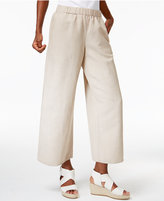 Eileen Fisher Linen-Blend Pull-On Wide-Leg Pants