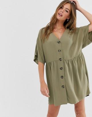 Asos Design DESIGN v neck button through mini smock dress-Green