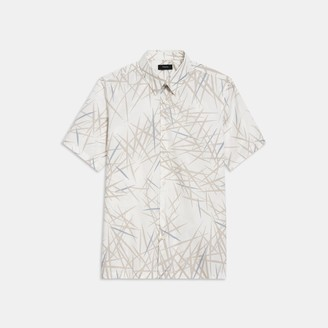 Theory Irving Short-Sleeve Shirt in Tropic Print Stretch Cotton