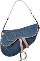 Christian Dior Blue Denim Saddle Bag