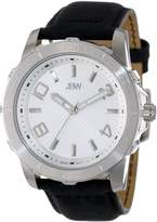 JBW Men's J6281C Silver 12 Diamonds Leather Watch