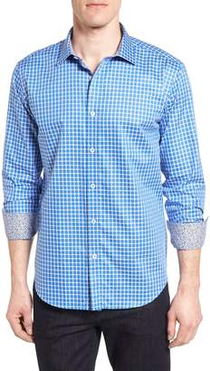 Bugatchi Check Print Shaped Shirt