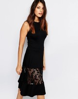 French Connection Midi Dress With Lace Panel
