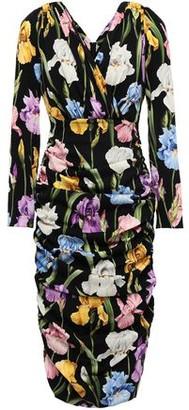 Dolce & Gabbana Ruched Floral-print Silk-blend Dress