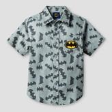 Batman Toddler Boys' AOP Woven Button Down T-Shirt - Grey