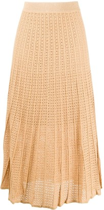 Sandro Paris Embroidered Flared Midi Skirt
