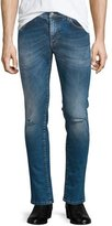 Versace Destroyed Skinny-Leg Bleached Denim Jeans, Blue