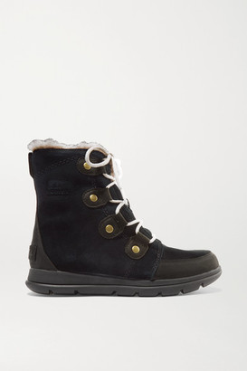 Sorel Explorer Joan Faux Fur-trimmed Waterproof Suede And Leather Ankle Boots - Black