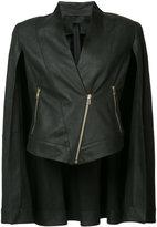 Gareth Pugh diagonal zip leather cape