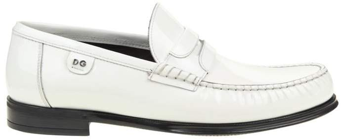 Dolce & Gabbana White Patent Leather Mocassins