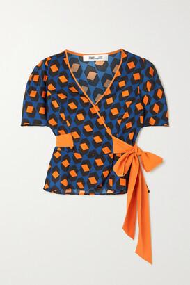 Diane von Furstenberg - Alexia Printed Jersey Wrap Top - Blue