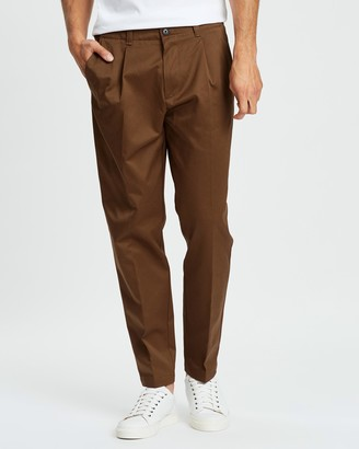 BOSS Cotton Garbardine Relaxed Fit Trousers