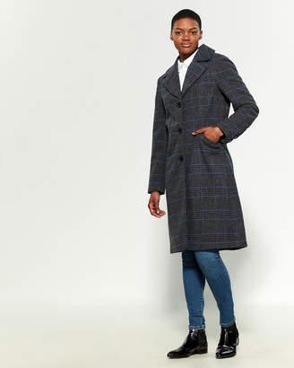 Kenneth Cole Plaid Wool-Blend Coat