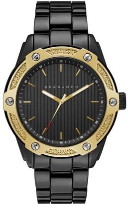 Sean John Men Quartz Analog Display Two Tone Black And Gold Case Black Dial Black Bracelet SJC0174004