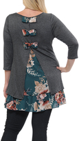 Celeste Charcoal Floral-Accent Bow-Back Tunic - Plus