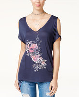 Jessica Simpson Juniors' Cold-Shoulder Graphic Top