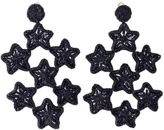 Caimana Asteria Chandelier Raffia Earrings Black