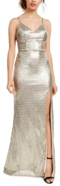 City Studios Juniors' Sequin-Dot Slit Gown