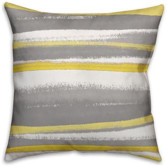 Ddcg Yellow and Gray Stripes Spun Poly Pillow, 18x18