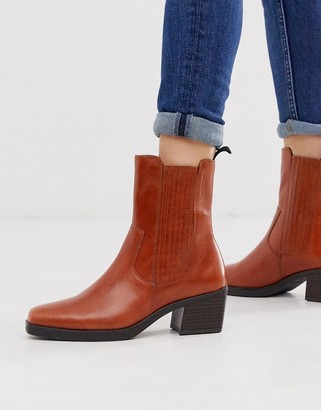 Vagabond Simone brown leather western mid heeled ankle boots with square toe