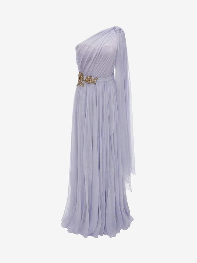 Alexander McQueen One Shoulder Embroidered Evening Dress