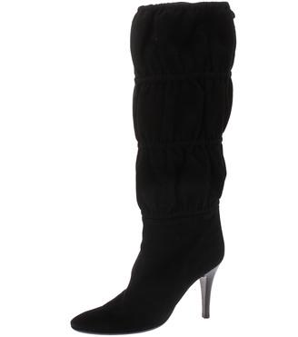 Roberto Cavalli Black Suede Knee High Tie Up Boots Size 40