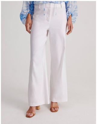 Basque Linen Blend Wide Leg Pant