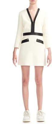 Maje Remma Faux Leather Detail Tweed Minidress