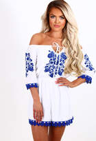 Pink Boutique Not Letting Go White and Blue Embroidered Bardot Playsuit