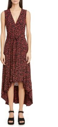 Ganni Floral Logo Print High/Low Wrap Dress