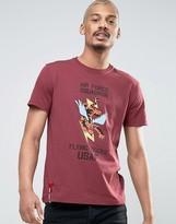 Alpha Industries T-shirt Flying Tiger Regular Fit In Burgundy